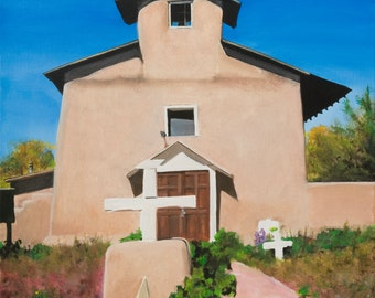 St. Anthony's Church Cordova Original Oil Painting by Santa Fe New Mexico Artist Raquel Undewood (unframed)