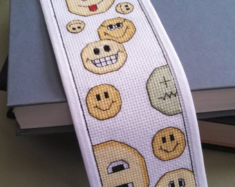 Cross Stitch Pattern - Bookmark - Smiley Faces (Downloadable PDF)