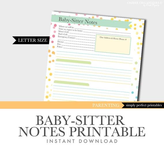 Baby-Sitter Notes Printable Household Binder Planner