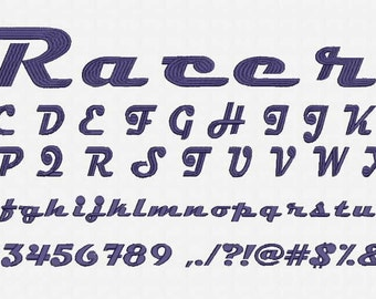 Racer Font Embroidery Design