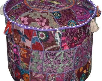 Purple Bohemian Pouf Ottoman Vintage Patchwork Indian Pouf