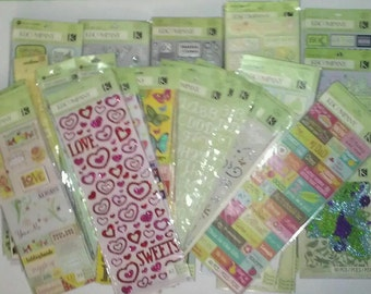 Mix Lot of  37 K & Company Sticker Packs | Adhesive Borders | Embossed | Die-cut | Pillow | Flip Pack + more... No Duplicates