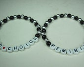 Pair Set of Feminist and Pro Choice Black & Silver Beaded Stackable Stretch Bracelets Abortion Women's Repro Rights Activist