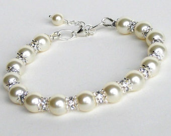 Ivory Cream Pearl Bridal Bracelet, Classic Pearl Wedding Bracelet, Bridesmaids Rhinestone Bracelet, Bridal Accessories