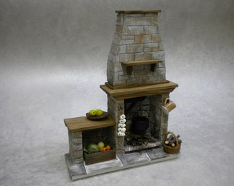 Doll House Stone Fireplace - Cottage, Tudor, Medieval Cooking Dolls house Miniature Fire One Inch 1:12 Scale Handmade