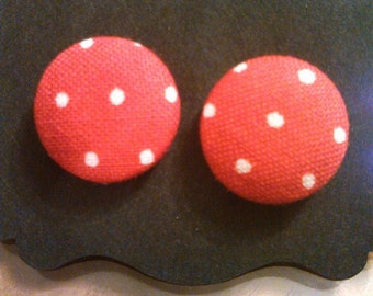Red with white polka dots fabric covered button earrings