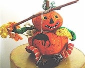 "Primitive Folk Art Pumpkin Head--""SPIDER on a STICK""  Pumpty Dumpty -- Original Design Handcrafted Halloween Folk Art"
