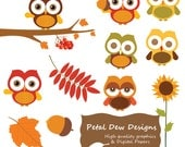 Digital autumn fall owl cliparts - Petaldewdesigns