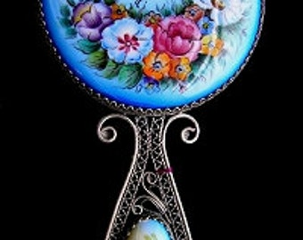 Russian Enamel  Floral Small Hand Mirror