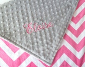 Personalized Baby Blanket or Lovey -  Baby Girl Chevron Stroller blanket - Custom Made - You Choose Minky Color - Pink, Fuchsia, Teal, gray