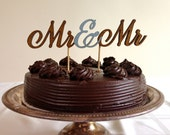 Mr & Mr - Classic Wedding Cake Topper With Ampersand Accent