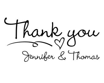 """Thank You Stamp, personalised names stamp, wedding stamp, couples stamp, favours stamp, gift tags stamp, DIY wedding stamp, 2""""x1"""" (cts4)"""
