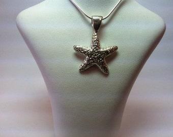 sterling silver medium textured starfih pendent model #388SS