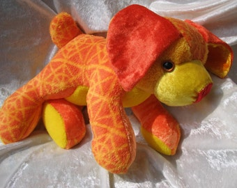 ORANGE PUPPY PLUSH, soft toy orange puppy yellow, stuffed dog terrier orange, handmade puppy terrier, orange yellow puppy baby shower toy