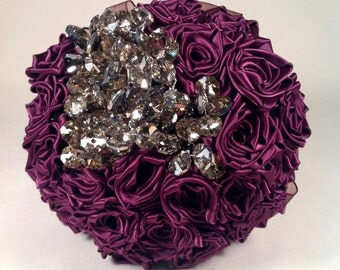 Satin Rose And Crsytal Bridal Bouquet