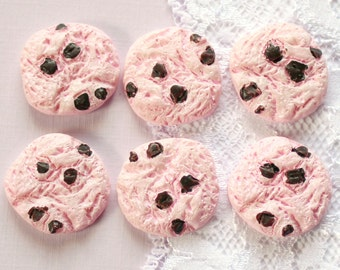 6 Pcs Pink Chocolate Chip Cookie Cabochons - 22x22mm