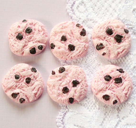 Pcs Pink Chocolate Chip Cookie Cabochons by SugarSunrise
