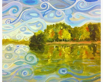 Abstract Lake Davidson Norman North Carolina Original Art