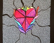 Heart on Fire Stained Glass Quilting Pattern Design