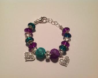 The Teal & Purple Charm Bracelet
