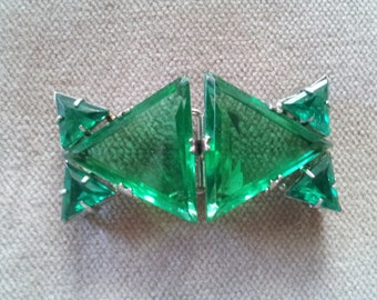 Vintage Art Deco Czech Glass and Silver Tone Metal Belt Buckle  in Bright Green