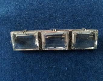 Vintage Sterling Rock Crystal Marcasite Brooch Pin, Art Deco Crystal Brooch Pin Germany