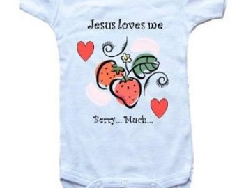 Baby One-Piece Bodysuit-Personalized Gifts-Christian Baby Gifts-Jesus Loves Me Berry Much - White, Blue or Pink