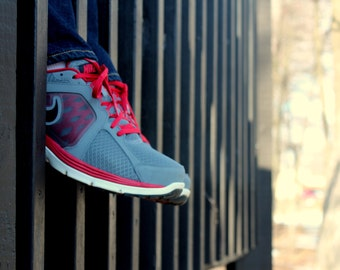 Red Gray Sneakers Jeans Through a Wooden Bridge - Fine Art Photo Print Home Wall Decor by Rose Clearfield on Etsy
