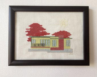 Chartreuse Mid Century Modern House Cross Stitch