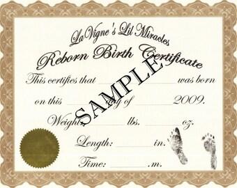 Reborn birth certificates your custom nursery name 5 for Reborn birth certificate
