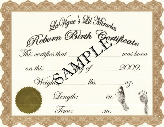 baby doll birth certificate template - reborn birth certificates your custom nursery name 5