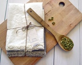 100% natural linen handmade tea towel with lace, Ivory/Natural colours