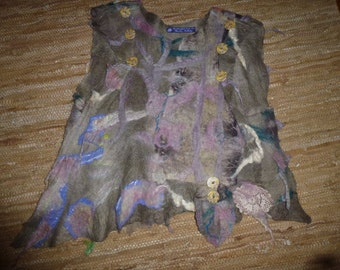 Hand felted eco dyed vest.  Size Medium