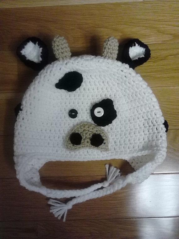 Crochet Pattern Cow Hat : Crochet Cow Hat / Animal Hat