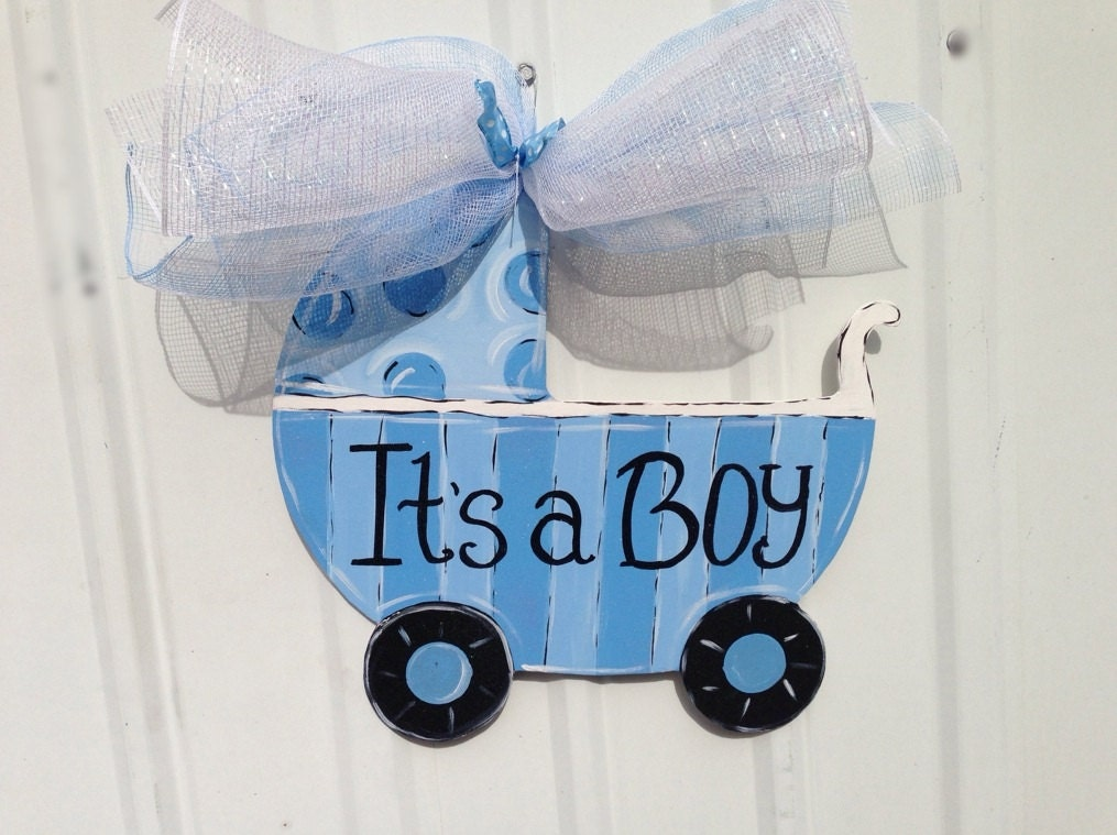 Hospital door hanger its a boy baby carriage polk a dot for Baby boy hospital door decoration