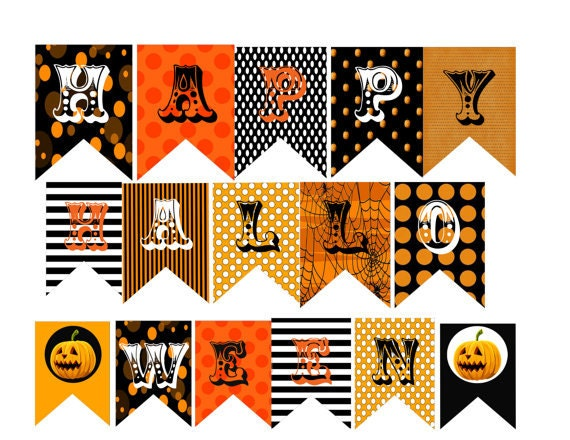 Like Sarah, I decorate cutesy for Halloween. Never scary. Both my kids and I are not big on the scary side of Halloween. But we love the fun side! And this free printable Halloween banner is just that! Fun! I love decorating my home with printables.