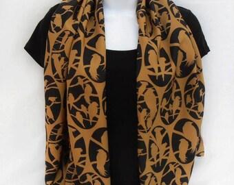 "Bird cameos silk scarf / 100% pure silk /ladies scarf /black and gold/ digital print design/ 20"" x 54"" (50 x 136cm)"