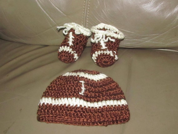 Custom Micro Preemie Football Set Cap and Booties for a Boy or Girl