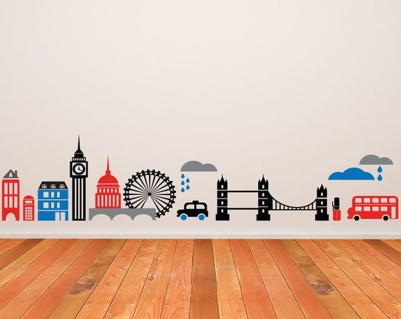 London england wall decal skyline home decor by newpoint for Home decorations london