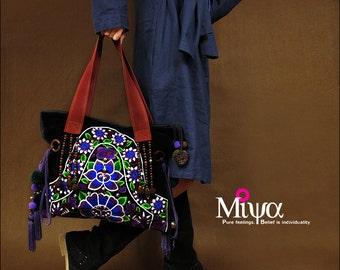 Miya's Original Ethnic Hmong Embroidered Bag  Purse Shoulderbag - Luna