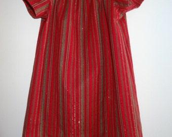 Red Glitter Girl/Toddler Peasant Christmas Dress
