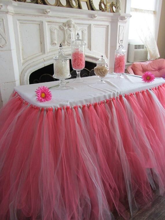Coral Amp Mint Custom Tutu Table Skirt