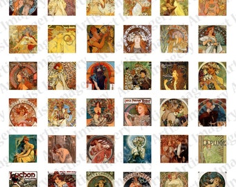 Alphonse MUCHA deco nouveau digital Collage Sheet Art Paintings Instant Download 1 inch square