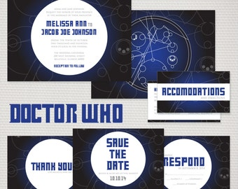 Doctor Who Wedding Invitation Suite, DIGITAL DOWNLOAD, Printable, Thank You Card, RSVP Card, Enclosure, Save the Date