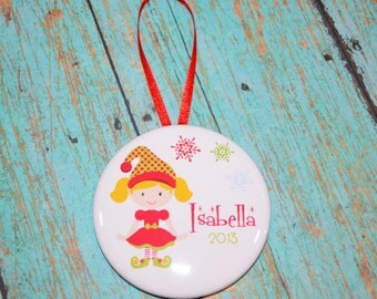 """2.25"""" Personalized Girl Elf Christmas Ornament"""