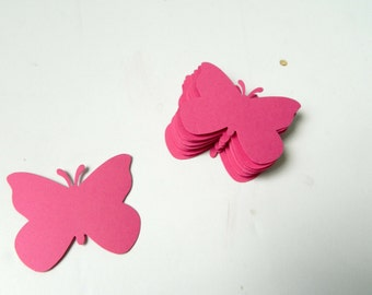 Butterfly Die Cuts: Large over 2inch butterflies in your choice of colors & your choice of quantity shown in Pink DIY scrapbooking supplies