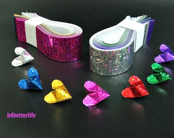 "210 Strips of diy Paper Kit For 3D Origami Hearts ""LOVE"" In 7 Different Colors. (4D Glittering Paper Series). #HPK-4."