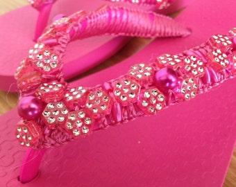 Hand-beaded Flip-flop Sandal in Hot Pink (Size 5)