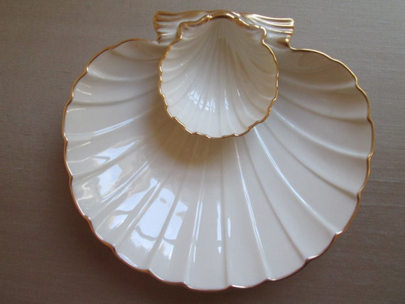 Vintage Lenox Scallop Shell Porcelain Dish With 24k Gold Trim