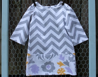 Bella: Grey Chevron and Floral Print Dress in Size 2 to 8